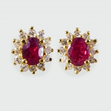 SOLD Contemporary Ruby and Diamond Cluster Earrings in 18ct Gold