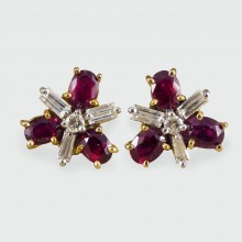 Contemporary Ruby and Diamond Cluster Earrings in 18ct Yellow and White Gold