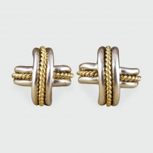 SOLD Tiffany and Co Cross Weave Gold and Silver Clip On Earrings