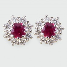 SOLD Ruby and Diamond Flower Cluster Earrings in 18ct White Gold
