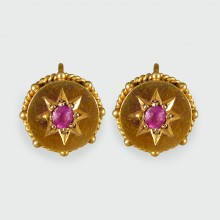 SOLD Late Victorian Antique Ruby set Earrings 15ct Gold