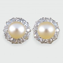 SOLD Late Victorian Pearl and Diamond Cluster Earrings in Original Antique Box