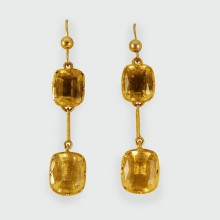 Mid Victorian Citrine Drop Earrings in 9ct Gold