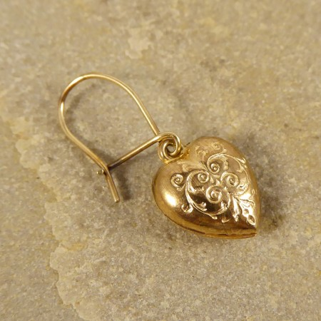 SOLD Vintage Engraved Heart Earrings in 9ct Gold