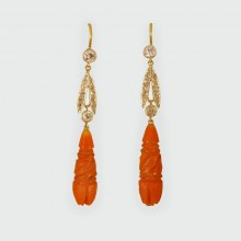 SOLD Engraved Coral and Diamond Drop Earrings in 15ct Gold and Platinum