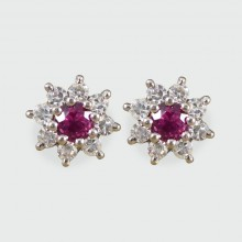 SOLD Small Ruby and Diamond Cluster Earrings in 18ct White Gold