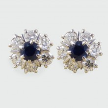 SOLD Vintage Sapphire and Diamond Cluster Earrings in 18ct White Gold