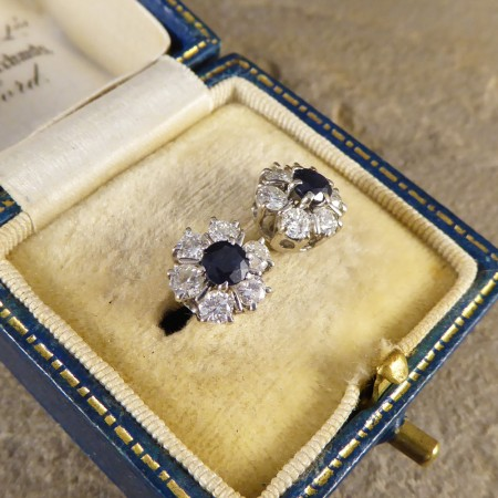Vintage Sapphire and Diamond Cluster Earrings in 18ct White Gold