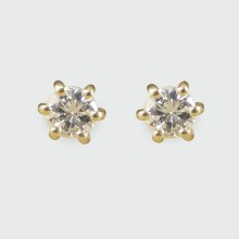 Contemporary 0.15ct Diamond Stud Earrings in 18ct Yellow Gold