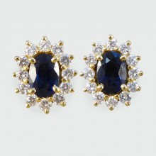 SOLD Contemporary Sapphire and Diamond Cluster Earrings in 18ct Yellow Gold