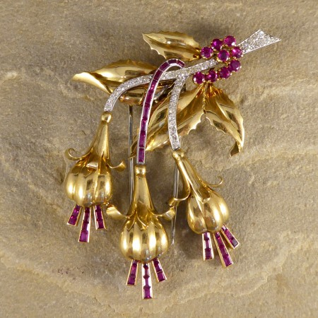 1950's Ruby and Diamond Floral Earring and Pin Set in 18ct Yellow Gold