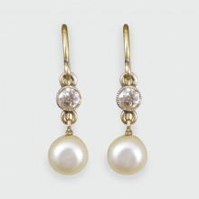 SOLD Antique Victorian Pearl and Diamond Drop Earrings in 15ct Yellow Gold