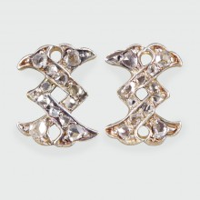 SOLD Antique Victorian Cross Zig Zag Diamond Set Earrings in Silver and Gold