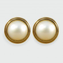 SOLD Vintage Circular Mabe Pearl Earrings in 18ct and 9ct Yellow Gold