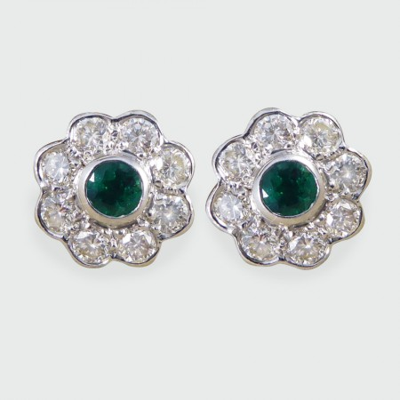 Contemporary Emerald and Diamond Cluster Earrings in 18ct White Gold