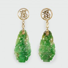 Edwardian Carved Jade Earrings in 14ct Yellow Gold