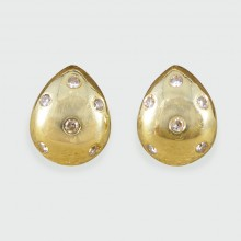 Contemporary Tear Drop Shaped Diamond set Earrings in 18ct Yellow Gold