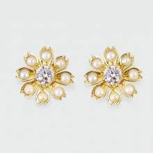 SOLD Edwardian Diamond and Pearl Flower Earrings in 18ct Yellow Gold