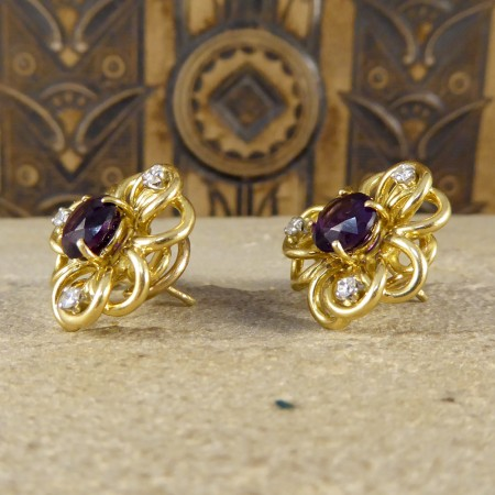 Vintage Amethyst and Diamond Set Floral Pattern Earrings in 18ct Yellow Gold
