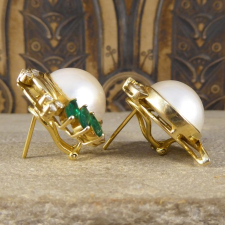Large Vintage Mabe Pearl Lever Back Earrings with Emerald and Diamonds in 18ct Gold