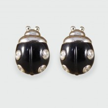 Black Enamel Diamond Set Lady Bird Earrings in 18ct White Gold