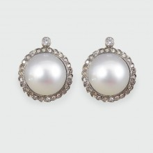 ON HOLD Vintage Cultured Pearl Omega Clip Earrings with a Diamond Halo in 18ct White Gold