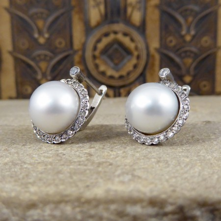 Vintage Cultured Pearl Omega Clip Earrings with a Diamond Halo in 18ct White Gold