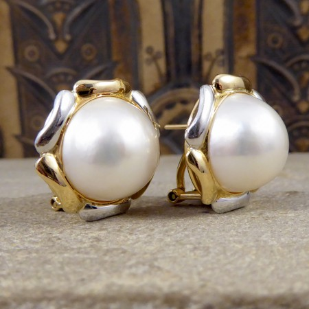South Sea Pearl Omega Clip Earrings with a 14k White and Yellow Gold Surround