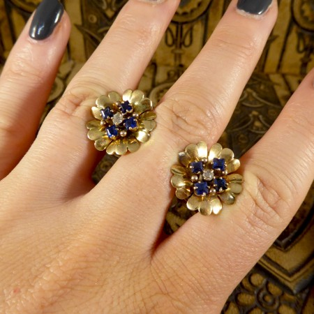 1940's Sapphire and Diamond set Floral Earrings in 9ct Yellow Gold
