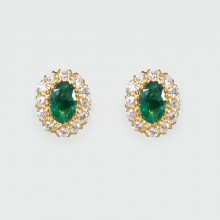 SOLD Contemporary Emerald and Diamond Cluster Earrings in 18ct Yellow Gold
