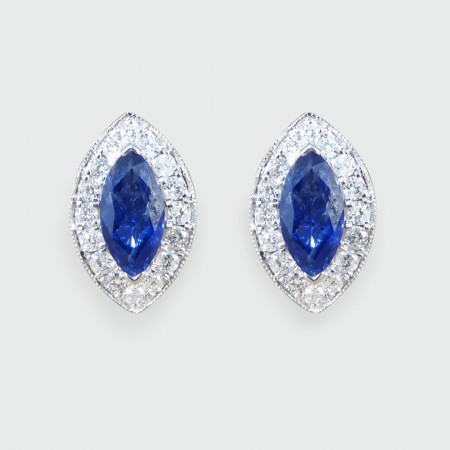 Contemporary Marquise Cut Sapphire and Diamond Cluster Earrings in 18ct White Gold