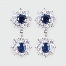 SOLD Contemporary Double Sapphire and Diamond Cluster Drop Earrings in 18ct White Gold