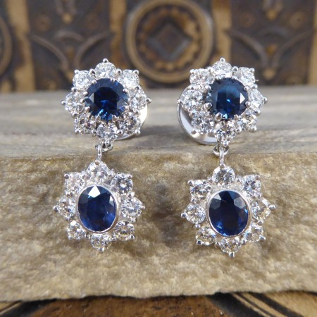 Contemporary Double Sapphire and Diamond Cluster Drop Earrings in 18ct White Gold