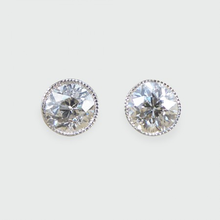 SOLD Diamond Collar Set Stud Earrings 0.42ct each in 18ct White Gold