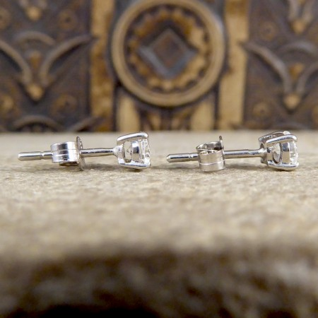 Clear and Bright 0.52ct Total Diamond Stud Earrings in 18ct White Gold