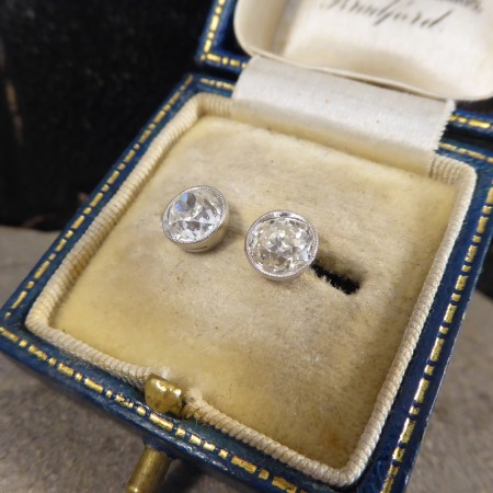 SOLD Diamond Collar Set Stud Earrings 1.84ct Total in 18ct White Gold and Platinum