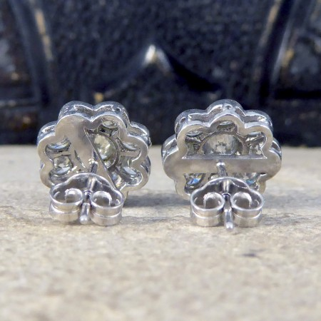 SOLD Contemporary 2.50ct Total Diamond Flower Cluster Earrings in 18ct White Gold