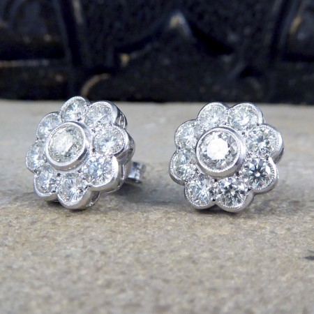Contemporary 2.50ct Total Diamond Flower Cluster Earrings in 18ct White Gold