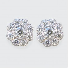 Contemporary Daisy Cluster 1.30ct Diamond Earrings in 18ct White and Yellow Gold