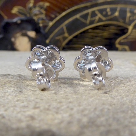 Daisy Cluster 1.10ct Diamond Earrings in 18ct White Gold