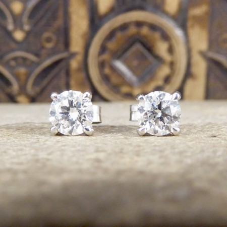 SOLD Classic Diamond Earrings 1.37ct Total in 18ct White Gold Claw Set Studs