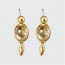 Antique Late Victorian Citrene Drop Earrings in 18ct Yellow Gold
