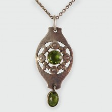 SOLD Arts and Crafts Silver and Peridot Murrle Bennett Pendant