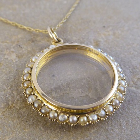 SOLD Murle Bennett Pendant Locket set with Seed Pearls in 9ct Gold