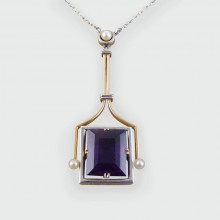 Amethyst and Pearl Pendant in 15ct Gold and Platinum on a period Platinum chain c1920
