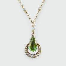 SOLD Edwardian Peridot and Seed Pearl Pendant Necklace in 9ct Gold