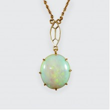Vintage Single Opal Pendant Necklace on Bail Linked 9ct Yellow Gold Chain