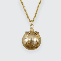 SOLD Vintage Masonic Folding Orb Gold and Silver Pendant on 9ct Yellow Gold Chain