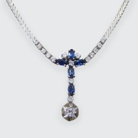 Contemporary 1.25ct Sapphire and Diamond Drop Necklace set in 14ct White Gold