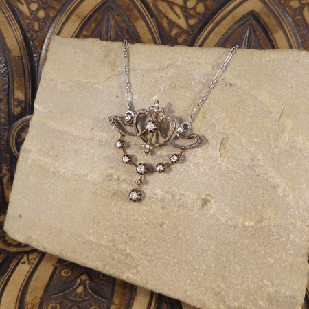 Antique Late Victorian 1.15ct Diamond Total Drop Pendant Necklace Gold Back Silver Front with Platinum Chain